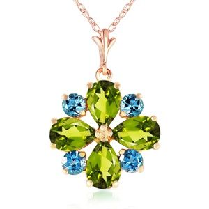 GOLD NECKLACE WITH PERIDOTS & BLUE TOPAZ